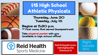 $15.00 JH and HS Athletic Physicals Thursday June 20th