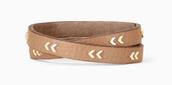Chevron Leather Wrap Bracelet - Gold