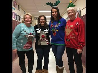 Teachers wearing ugly sweaters! ;-)