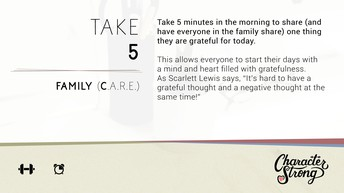 CHARACTER STRONG: Family Dare: Take 5