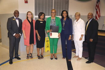 Tina Clark-Scott was recognized at the JEGB meeting on 9-9-2019