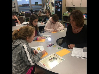 Shari leads a guided reading table with the Fiction Cards.