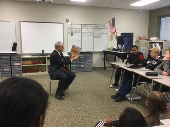 Dr. Epps reads to 8th Graders