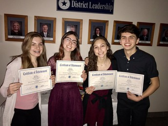 buffs theatre students pose with their certificates after being recognized at the december school board meeting