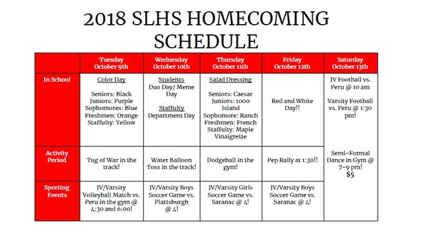 October will be another month of excitement here on campus, beginning with Homecoming Week, October 10-14. Information about the week will be in the daily announcements and the calendar is posted on the SLHS website. The week includes many of our athletic teams playing home games. Please check the athletic schedule on the district's website and check out our calendar on the SLHS website (highschool.slcs.org).