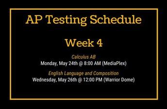 AP Testing Schedule - Week 4