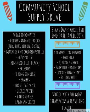 From the Port Washington High School - School Supply Drive