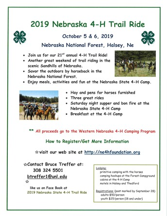 Nebraska State 4-H Camp to Host Annual 4-H Foundation Trail Ride