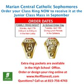 Sophomore Class Ring Orders THIS WEEK!