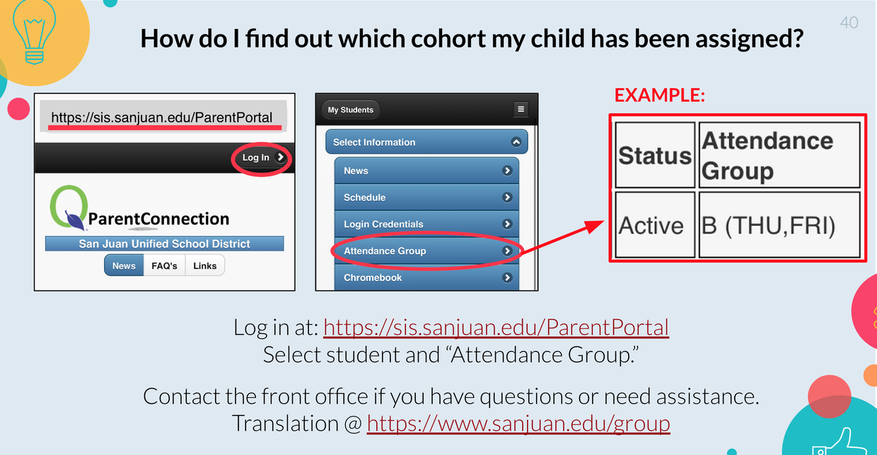 """Visit sanjuan.edu/group for details. Screenshots show Log in screen to Parent Portal, """"Attendance Group"""" tab under Student Information and Sample of student cohort assignment """"B (Thu, Fri)."""" Translations and portal link at sanjuan.edu/group"""