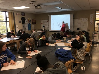 Mr. Kimble reviews depth of field with Art Exploration class