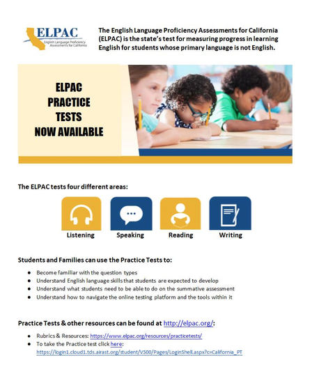 ELPAC practice test Information for English Learners.