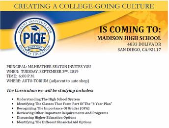 Parent Institute Begins Tuesday, September 3, 6:30 pm, Auto-Torium