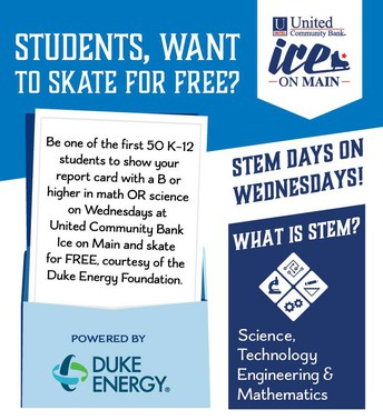 Skate for STEM Nights at Ice on Main in Downtown Greenville