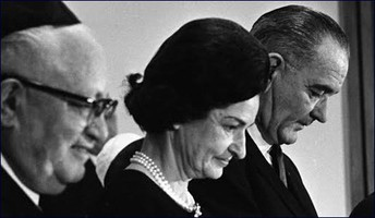 Jim Novy, Lady Bird Johnson, Lyndon Johnson at the dedication of Congregation Agudas Achim