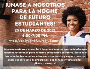 La Noche de los futuros estudiantes de Salem High School el 25 de marzo de 2021, de 6: 00-7: 00 pm