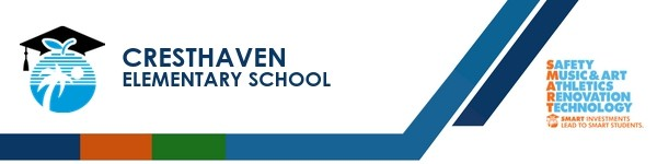 A graphic banner that shows Cresthaven Elementary School's name and SMART logo