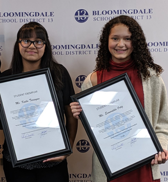 District 13 Names Westfield Student Exemplars, Keila and Esme!