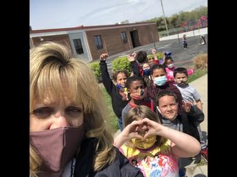 Recess Selfie with Ms. Fry's 1st grade