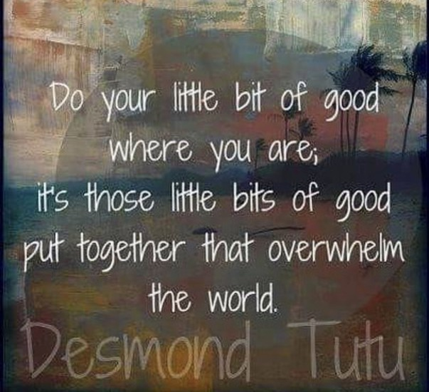 Do your little bits of good where you are; it's those bits of good that ovewhelm the world. - Desmond Tutu