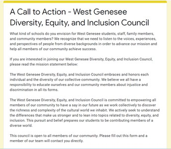 Message from the West Genesee Diversity, Equity, and Inclusion Council: Interested in Joining?