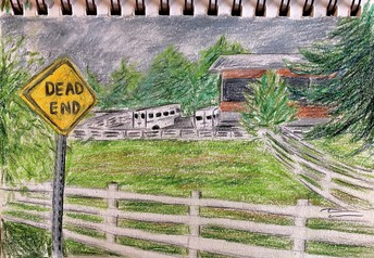 Watercolor landscape of road, with house in background & Dead end sign in foreground