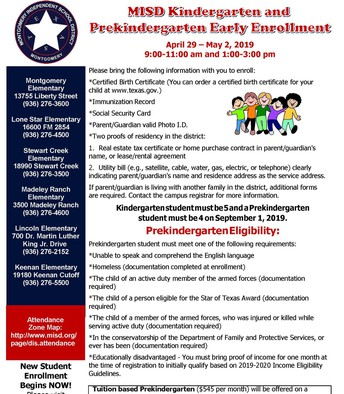 PreK and Kdg Early Enrollment