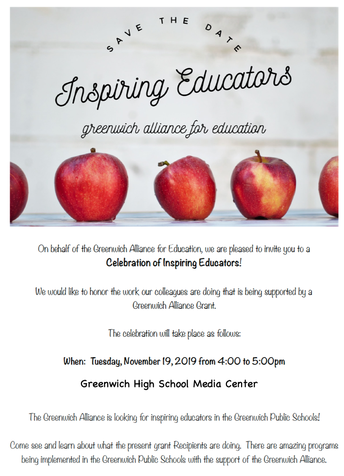 Greenwich Alliance for Education's flyer about the Inspiring Educators Event at Greenwich High School
