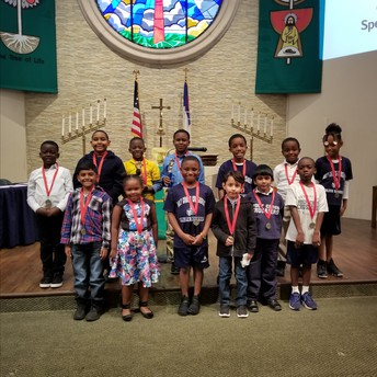 1st, 2nd and 3rd grade spelling bee contestants and winners