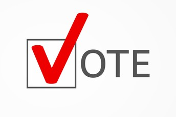 Adobe Stock Image with the word Vote, the letter V is in bright red color