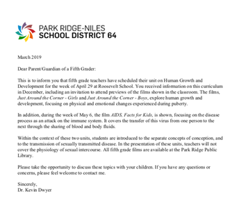 Letter to 5th Grade Parents