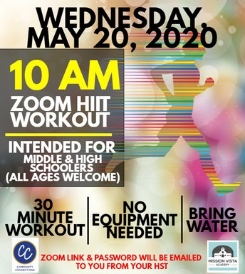 VIRTUAL Community Connections MS and HS Event Zoom HIIT Workout