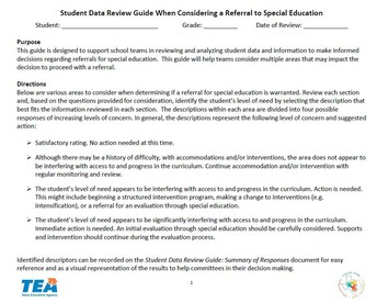 Student Data Review Guide Tools