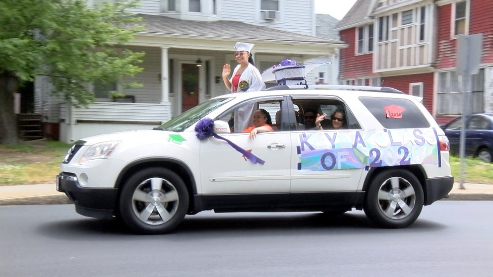 Student riding in the Class of 2020 car parade.