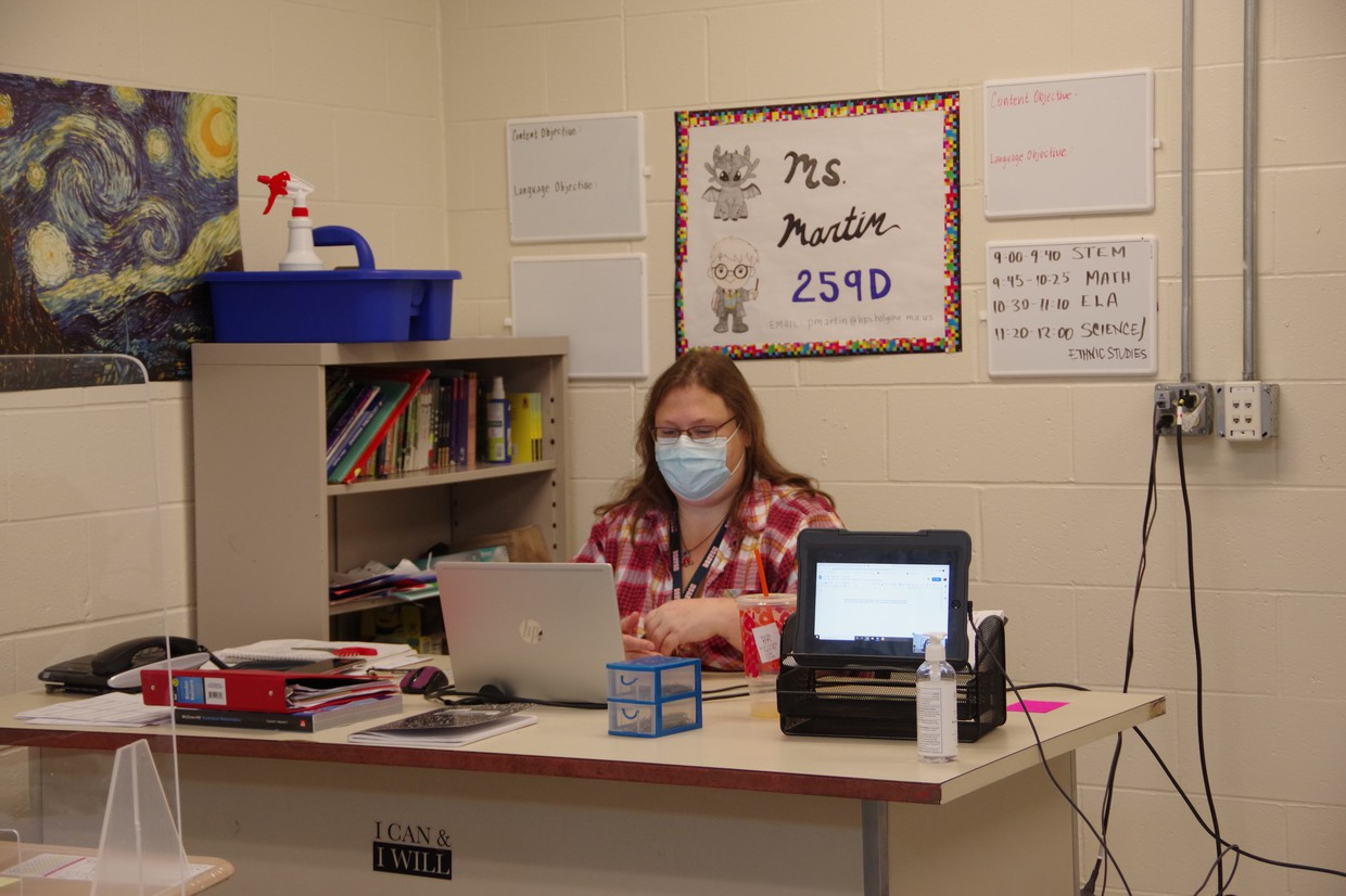 Teacher engaged in livestream in-person teaching