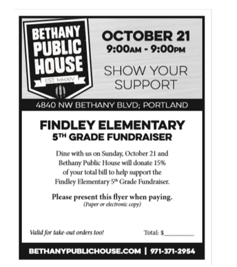 Findley 5th Grade Fundraiser Dine Out – October 21st!