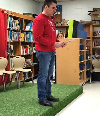 Master of Ceremonies Mr. Eardley introducing the Grade 6 plays...