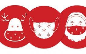 Reindeer and Santa wearing masks