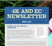 4K AND EC FAMILY NEWSLETTERS