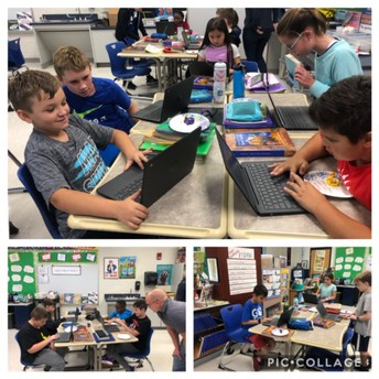 5th Graders exploring SeeSaw app in Mr. Lewis' Class