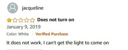 Customer Review: Does not turn on