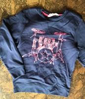 Blue H&M sweatshirt w/pink graphics