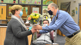 Nurse Straney honored at the Board meeting