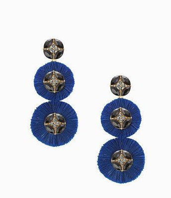 Gemma Fan chandelier earrings, royal blue