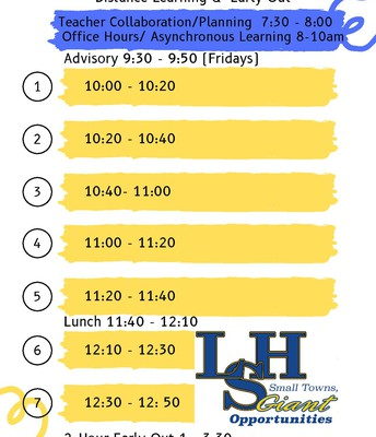 Distance Learning - Two Hour Early Out Schedule