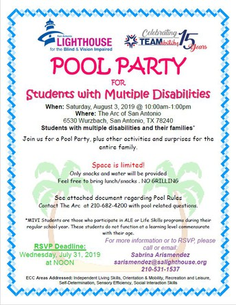 POOL PARTY FOR Students with Multiple Disabilities