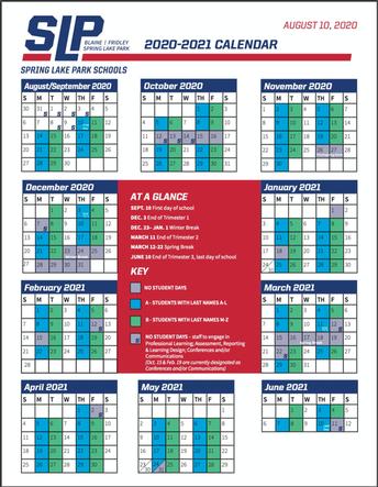 One-page 2020-2021 School Calendar