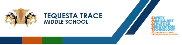 A graphic banner that shows Tequesta Trace Middle School's name and SMART logo