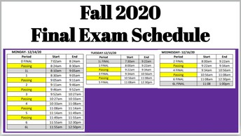 Final Exam Schedule  - Fall 2020