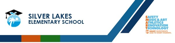 A graphic banner that shows Silver Lakes Elementary school's name and logo with the SMART logo